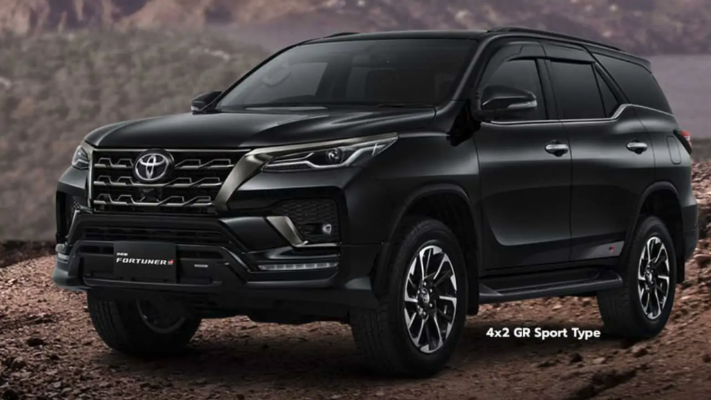 The 2022 Toyota Fortuner parked in mud