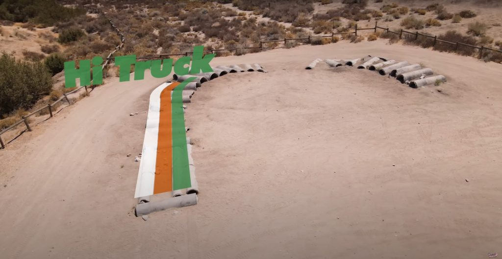 An overhead view of Donut Media's off-road suspension course