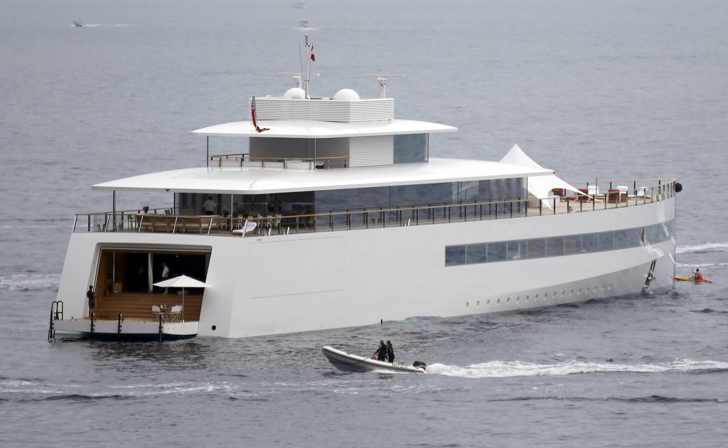 The yacht Venus, designed for Steve Jobs by French designer Philippe Starck, is moored on the French Riviera in July 2013