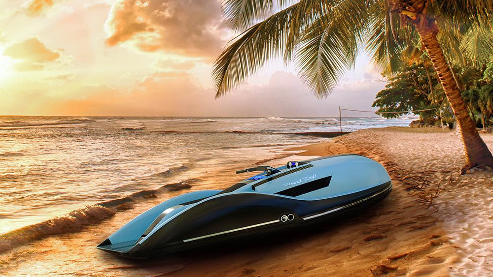 Strand Craft Daytona GT V8-powered jet ski on the beach