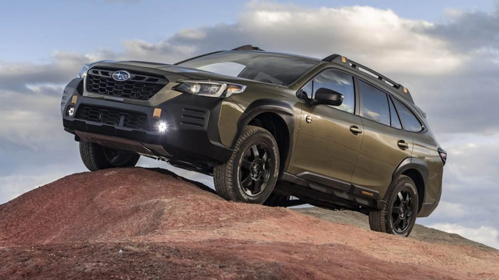 2022 Subaru Outback Wilderness parked on a rock