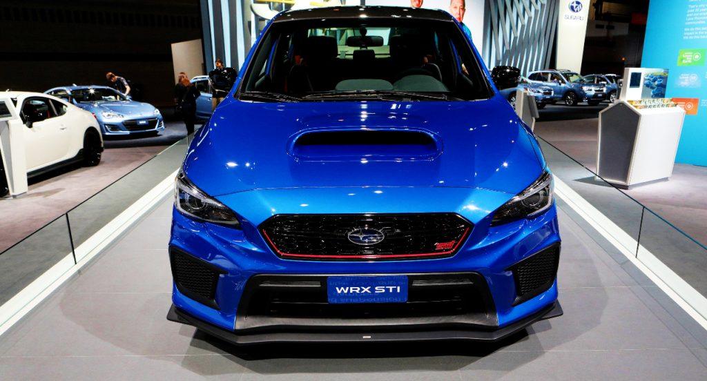A blue Subaru WRX.