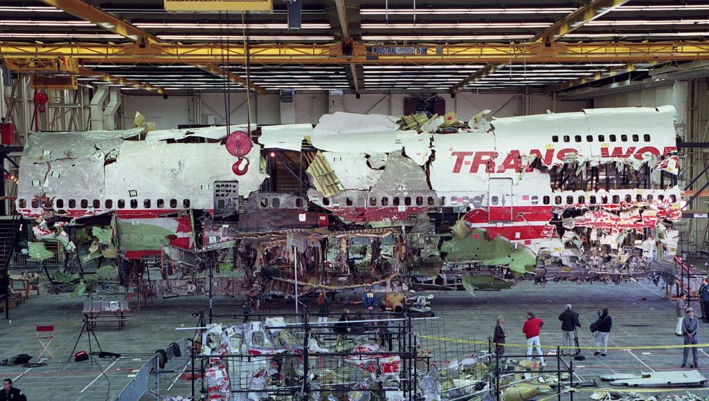 Wreckage of the front portion of TWA Flight 800 Boeing 747 aircraft is displayed in its reconstructed state in Calverton, Long Island, New York