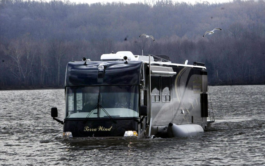 The Terra Wind amphibious motorcoach RV model traveling through water