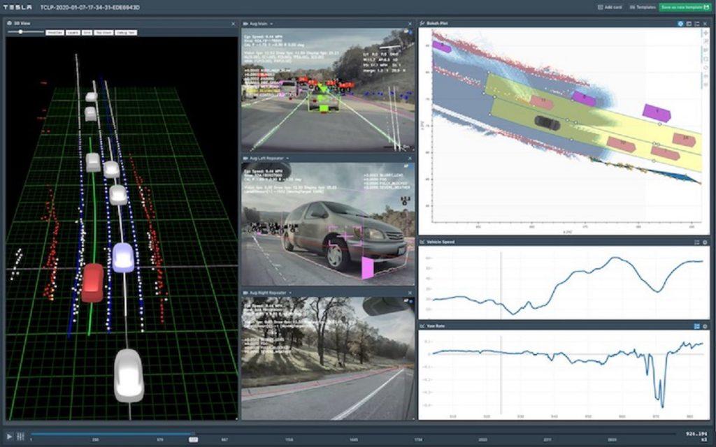 A screen showing Tesla Autopilot.