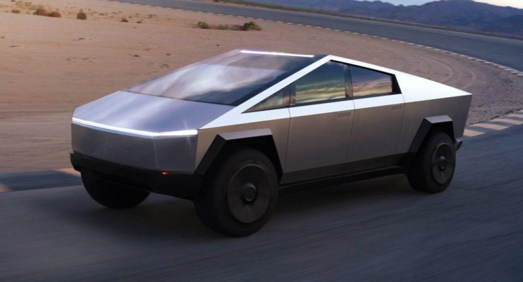 A silver Tesla Cybertruck.