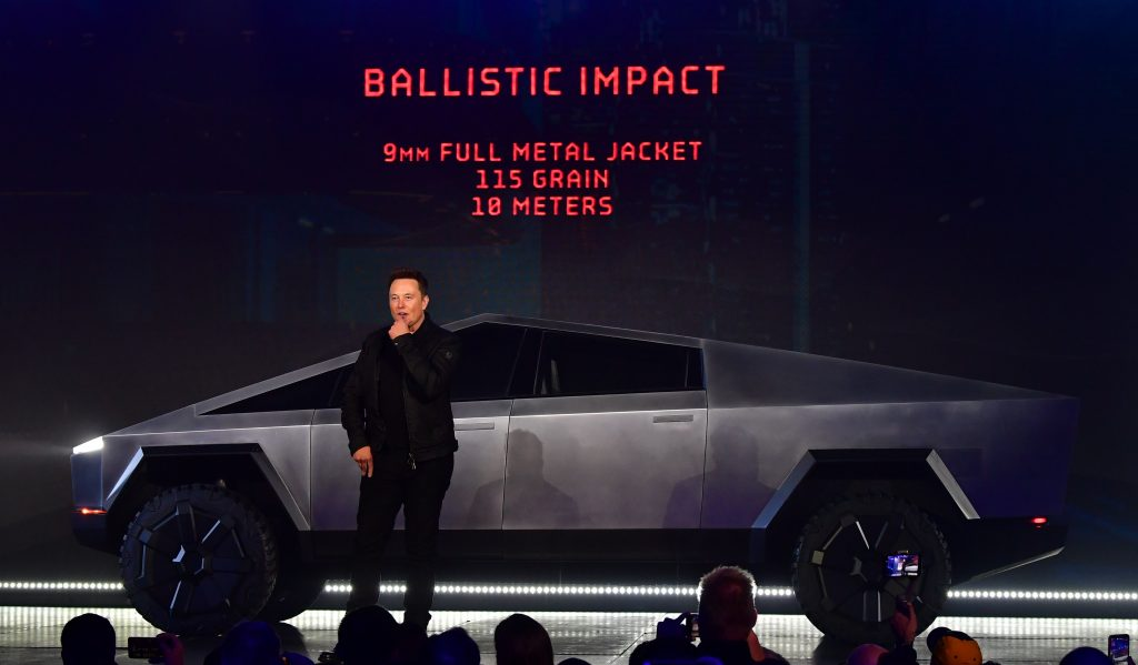 Tesla co-founder and CEO Elon Musk with the Tesla Cybertruck