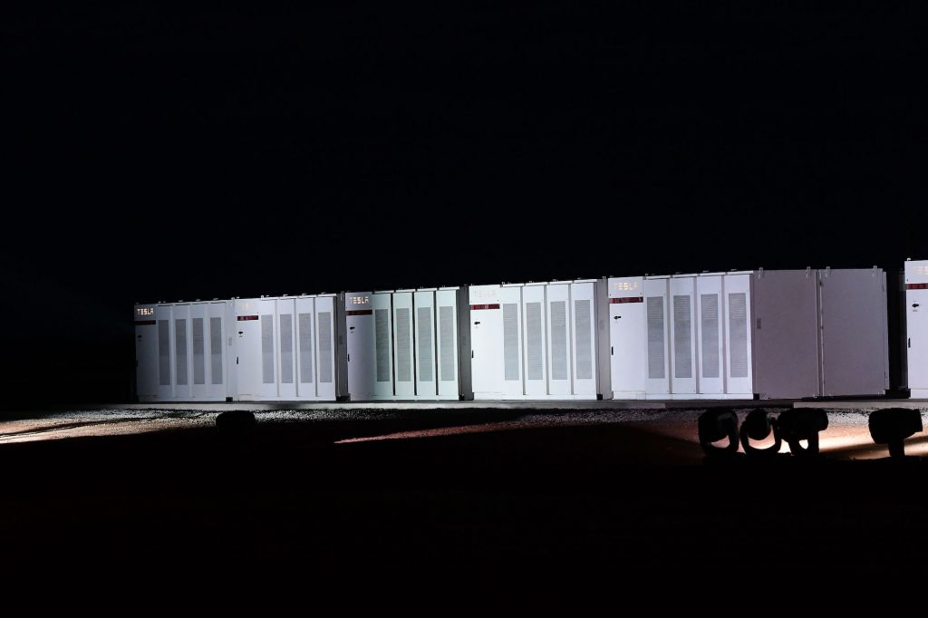 Tesla Megapack Powerpack batteries during the Tesla Powerpack Launch Event at Hornsdale Wind Farm on September 29, 2017, in Adelaide, Australia