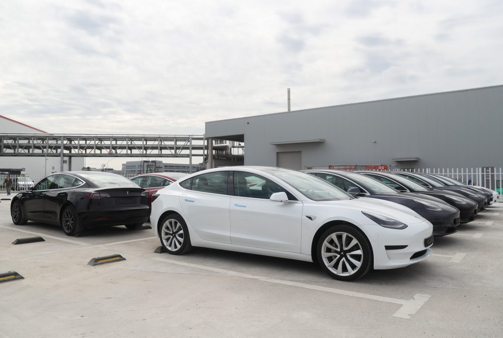 Tesla Model 3 EVs at the automaker's gigafactory in Shanghai, China, on October 26, 2020