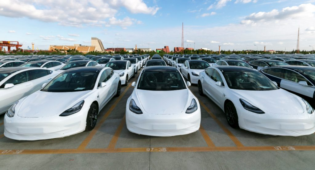Tesla China-made Model 3 electric vehicles which will be exported to Europe at Waigaoqiao port in Shanghai, east China, Oct. 19, 2020.