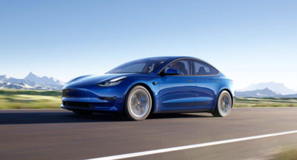 A blue Tesla Model 3.