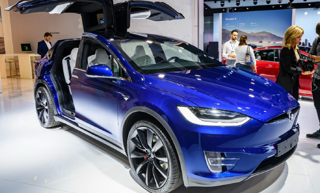 A blue Tesla Model X 90D full electric luxury crossover SUV car on display at Brussels Expo on January 9, 2020 in Brussels, Belgium.
