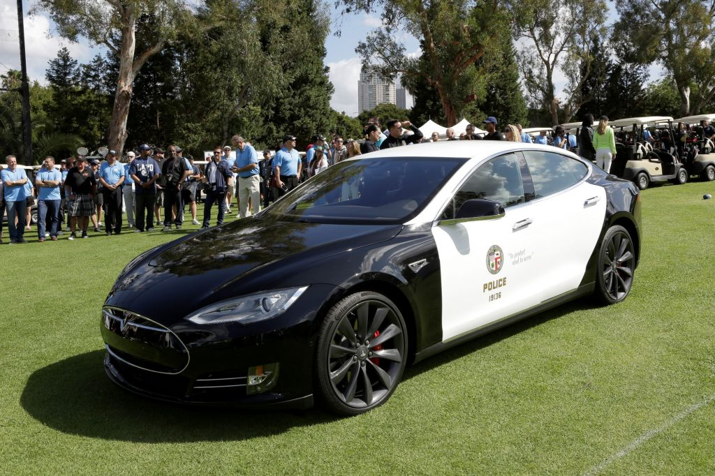 An LAPD Tesla Model S P85D model at the 44th annual Los Angeles Police Memorial Foundation Celebrity Golf Tournament