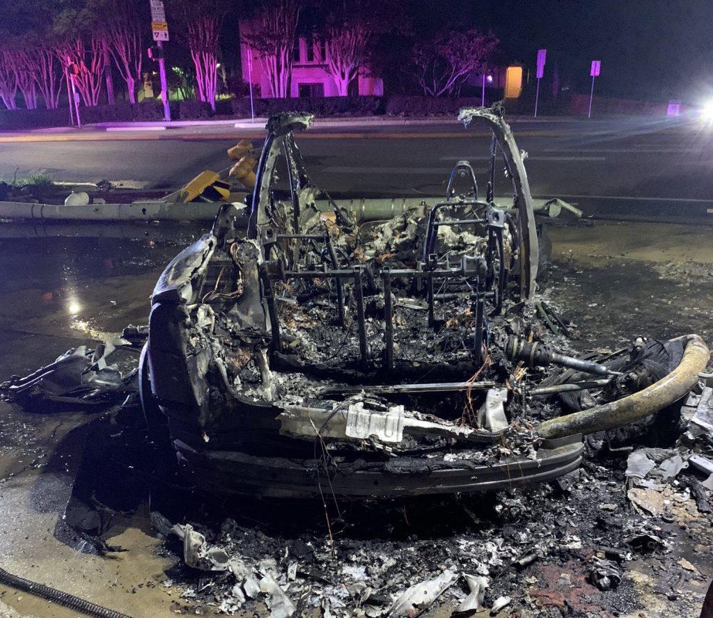 Tesla fire aftermath.