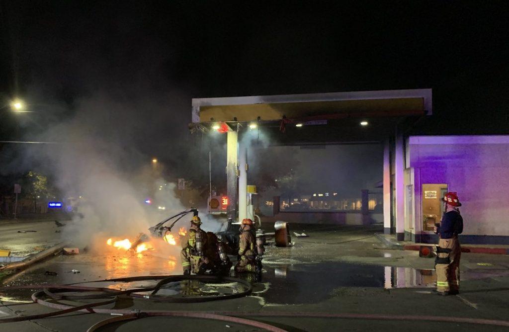 Austin Fire Department putting out Tesla fire