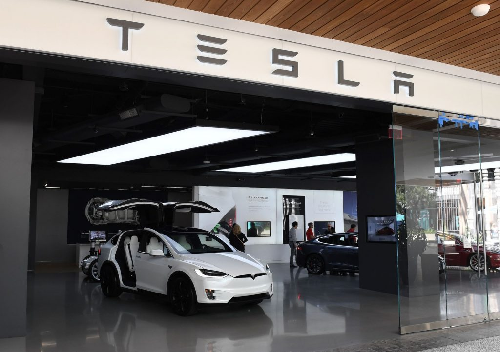A Tesla showroom within a shopping mall in Los Angeles, California