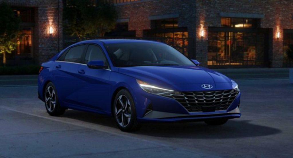 A blue Hyundai Elantra Hybrid.
