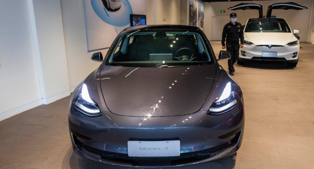 The Tesla Model 3 electric vehicle.