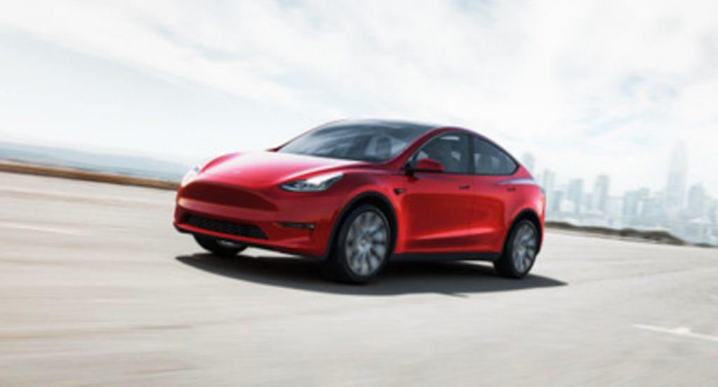 A red Tesla Model Y.