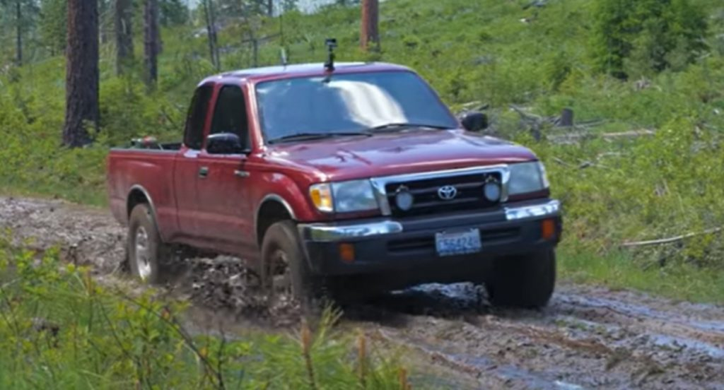 A red Toyota Tacoma.