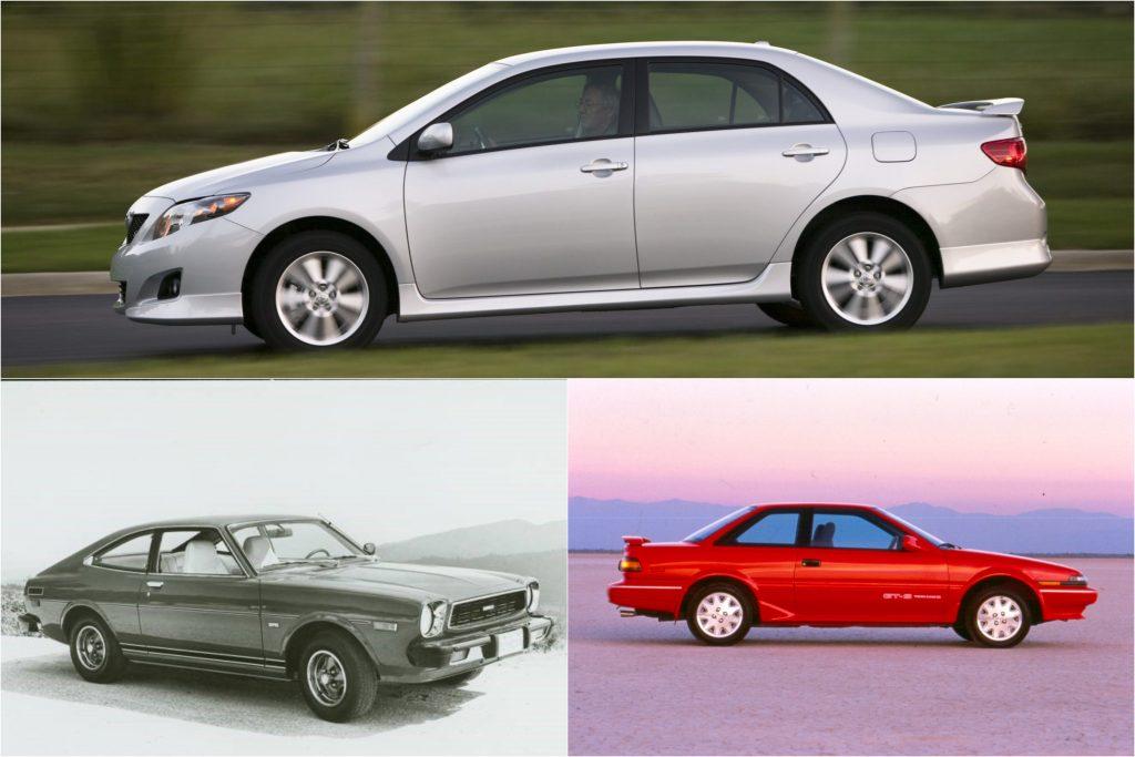 Third Generation, Sixth Generation, and Eleventh Generation Toyota Corollas