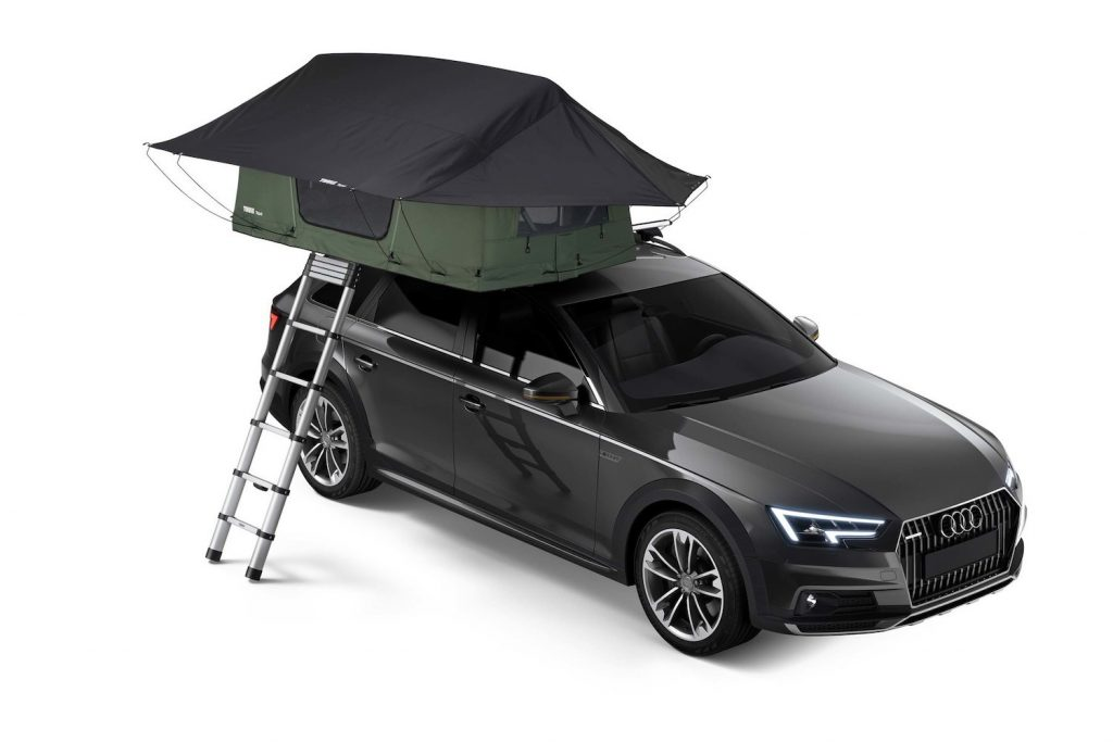 Publicity shot of the Tupei Foothill Softshell Rooftop Tent   Thule. One of the 5 Best Rooftop Tents For Overlanding -- According to Popular Mechanics