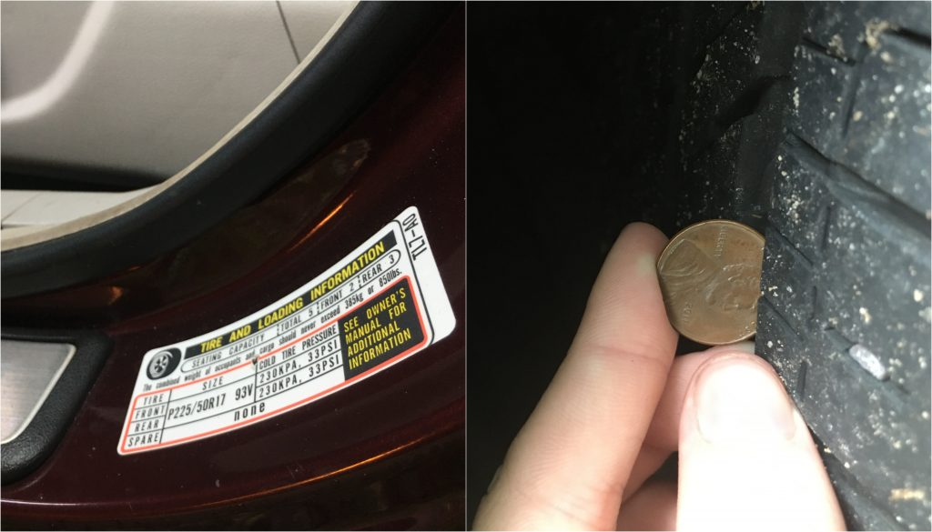 Tire Pressure Sticker On Driver's Side Door:Checking Tire Tread With A Penny