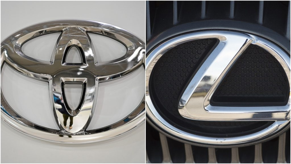 Side-by-side photos of the Toyota and Lexus logos