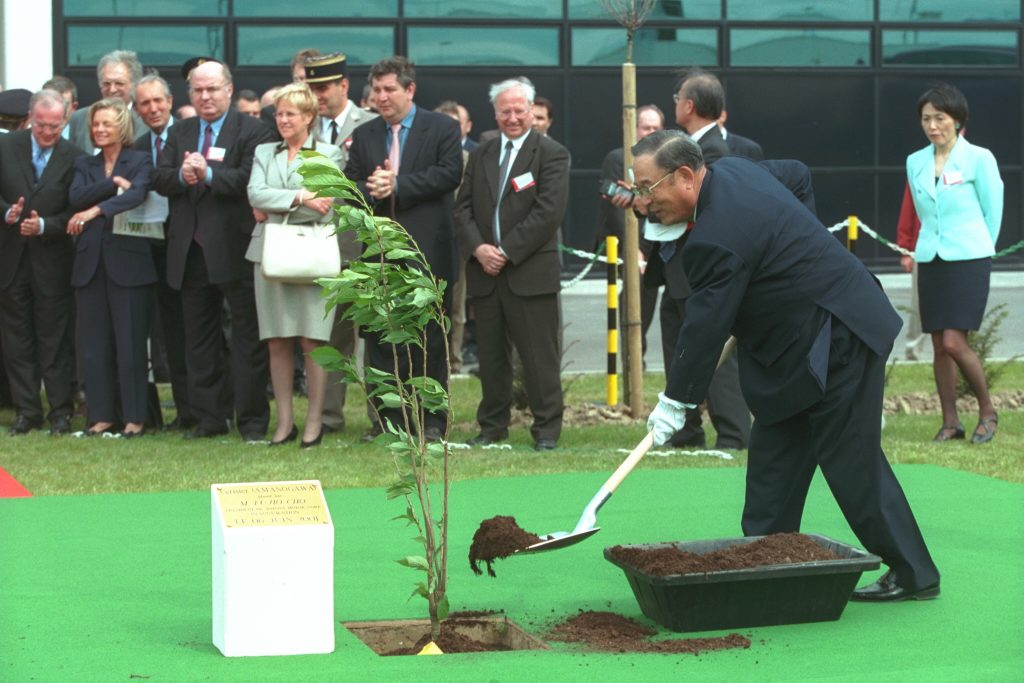 President of Toyota Motor Corporation Planting Tree To Promote A Carbon Neutral Future