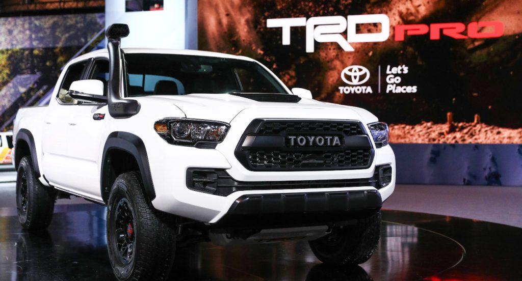 A white Toyota Tacoma TRD Pro.