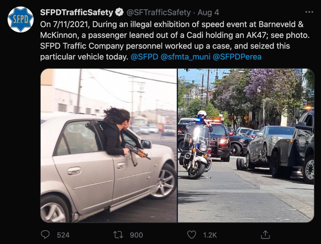 Twitter shot of SFPD post