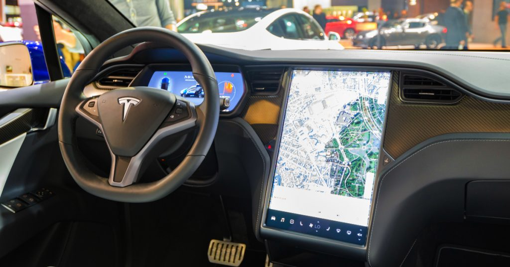 The interior of a Tesla Model X.