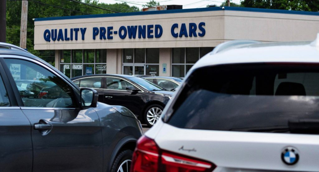 A used car dealership.