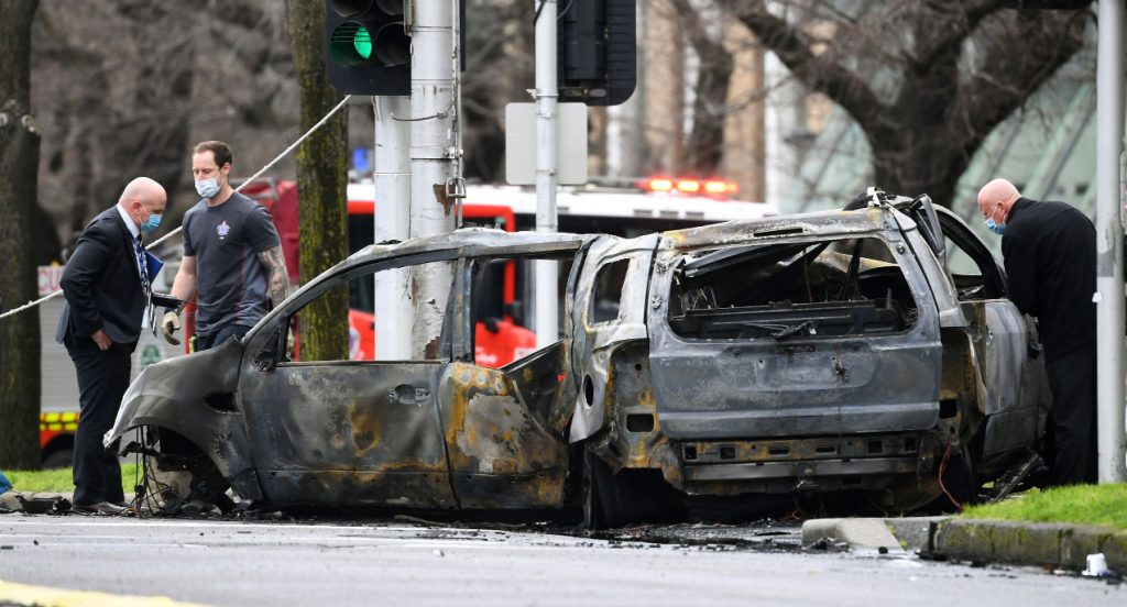 Car crashed and burst into flames.