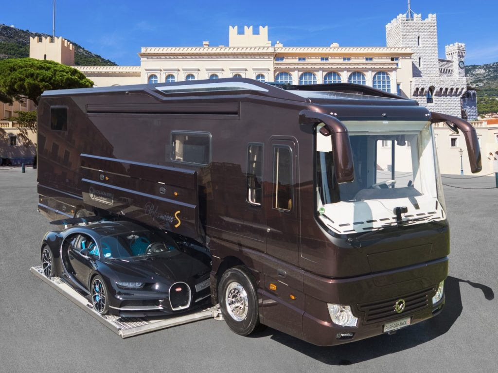 The Volkner Performance S pictured here is the most expensive motorhome in the world and has a garage for your Bugatti Chiron
