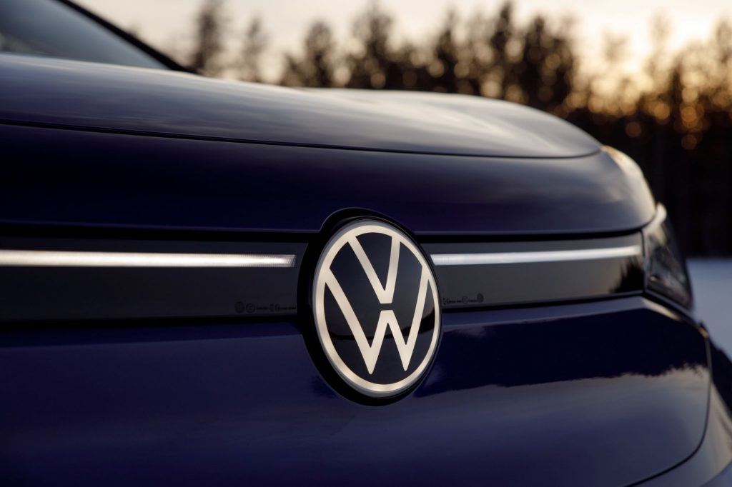 The front end and VW logo of the 2021 Volkswagen ID.4 EV SUV