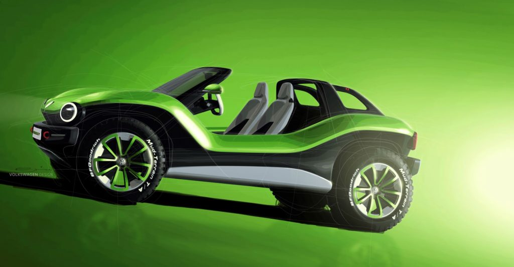 A green VW ID. Buggy, a competitor for the Kia Soul, in bright green, black and white against a green background with a black vignette.