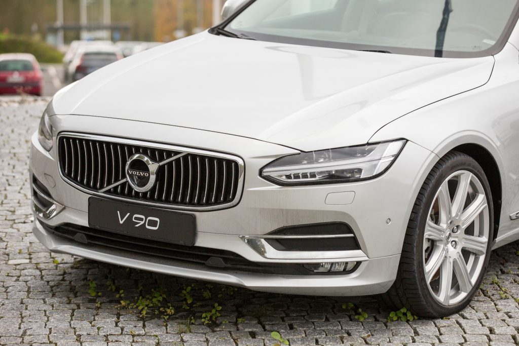 A white Volvo V90 luxury car is parked at the Volvo Car Corporation headquarters in Gothenburg, Sweden. Volvo is changing the way it names its models.