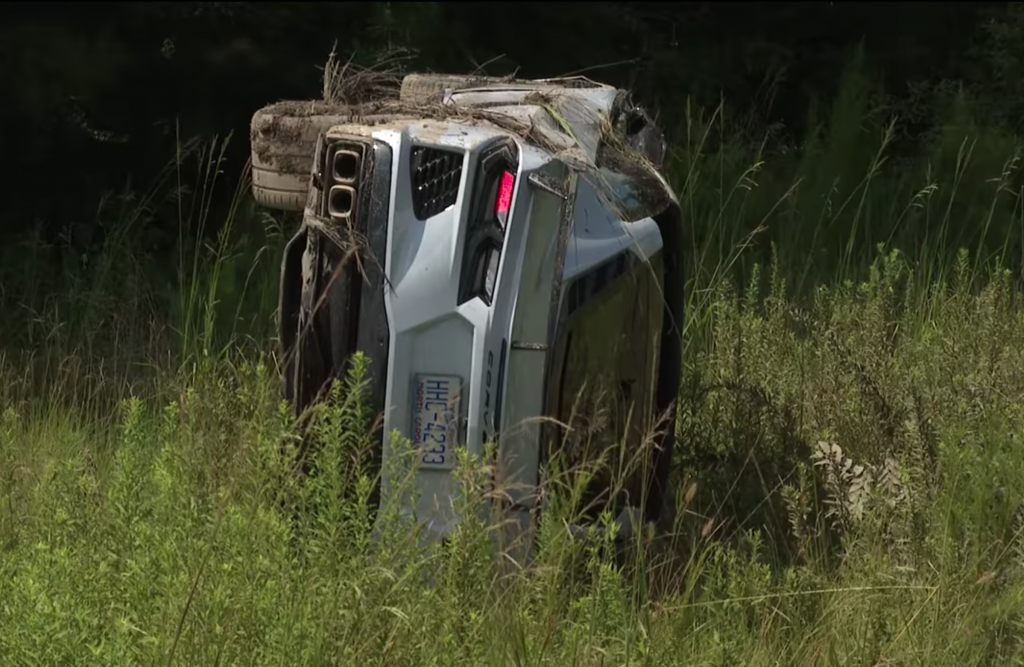 Wrecked 2020 Corvette sitting on its side