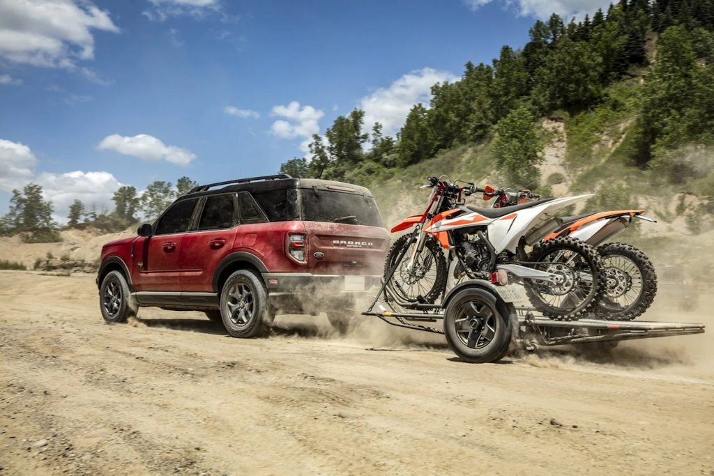 2021 Bronco Sport hauling some dirt bikes. Due to reliability concerns, Consumer reports can't recommend it