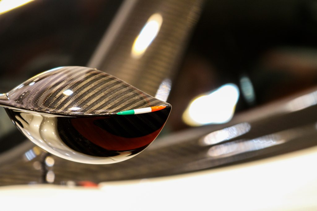 Wing mirror detail of a Bugatti sports car on display at the Essen Motor Show on December 1, 2017, in Essen, Germany.