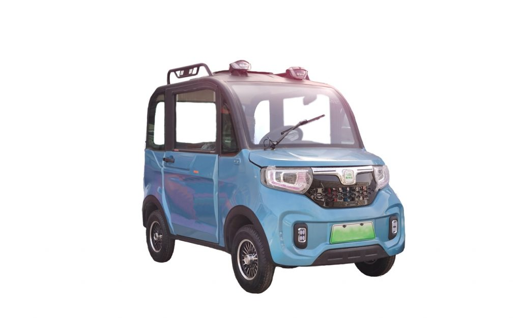 A two toned blue and black Changli EV