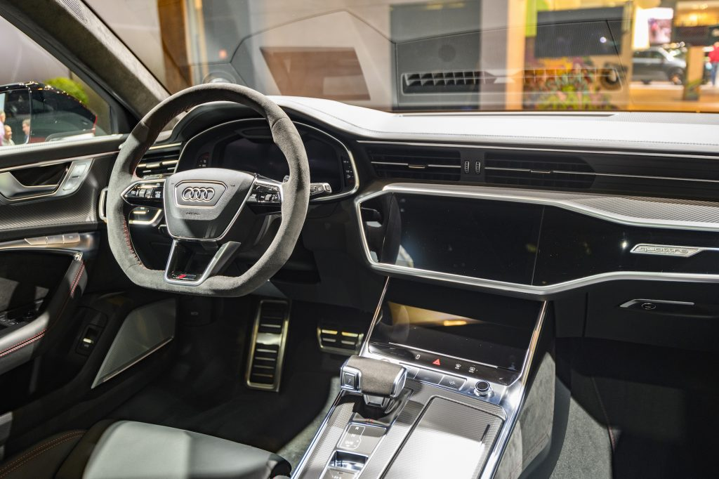 Audi RS6 Avant performance station wagon interior on display at Brussels Expo on January 9, 2020, in Brussels, Belgium.