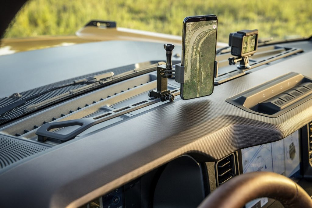 The Ford Bronco's interior rail mount for cameras and smartphones