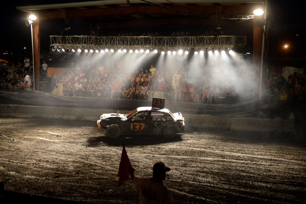 A demolition derby at the Shenandoah County Fair in Woodstock, Virginia