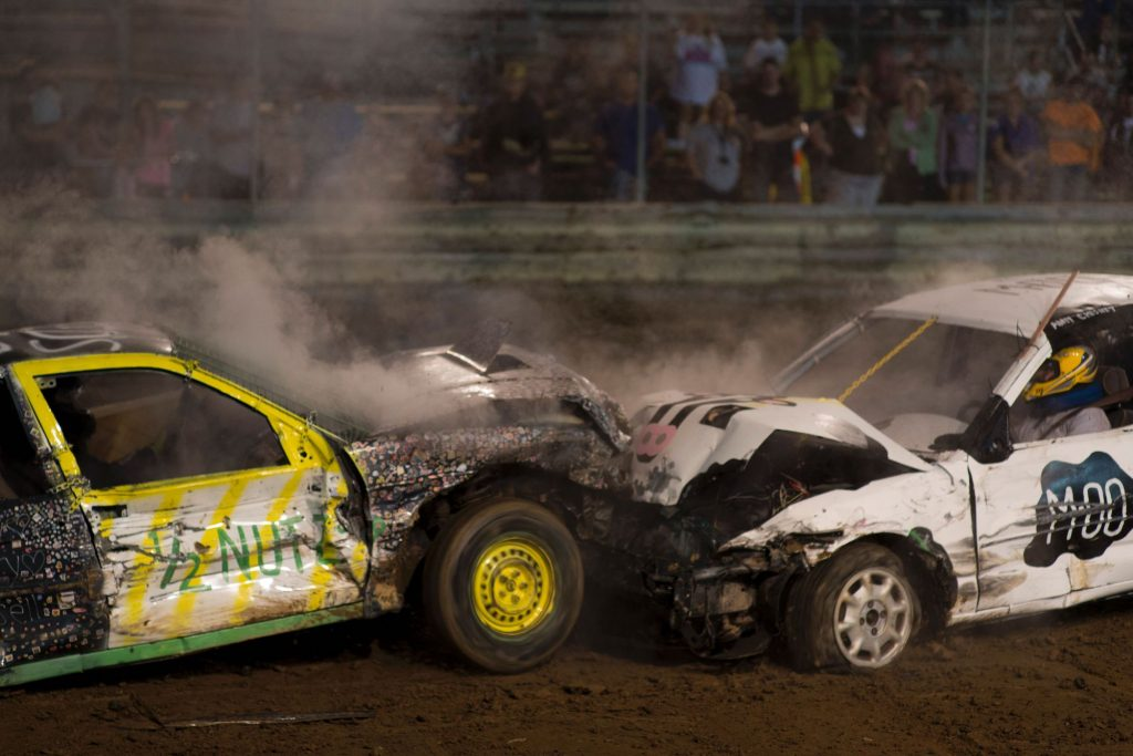 Two cars crash in a demolition derby at the Cambria County Fair in September 2016 in Ebensburg, Pennsylvania