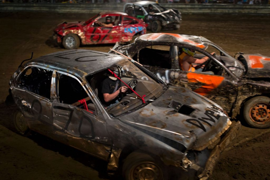 Drivers compete in a demolition derby at the Cambria County Fair on September 8, 2016, in Ebensburg, Pennsylvania