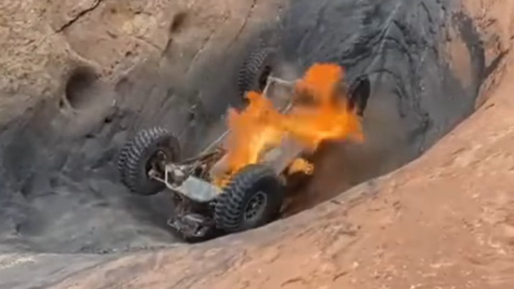a rock-crawling buggy flipped and caught fire at the Devil's hot tub in Moab after to trying to navigate it backward.
