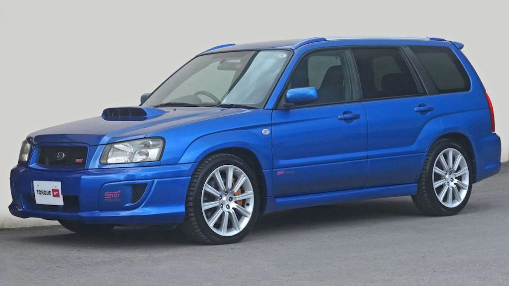 A blue Subaru Forester STi