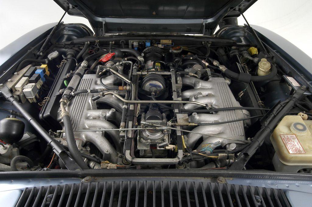 Engine bay of a 1991 Jaguar XJS V12